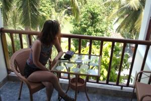 Hoi An Hotel Girl on Balcony