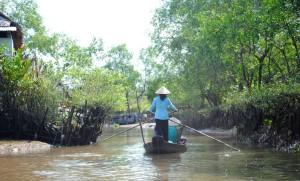 Mekong Delta An Binh Island Boat Woman