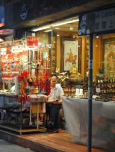 Hong Kong Cat Street Antiques Vendor