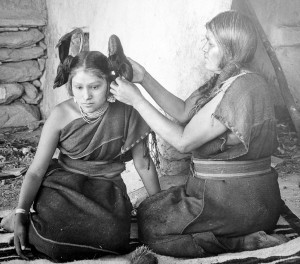 Hopi Woman Dressing Hair | © Henry Peabody, National Archives and Records Administration