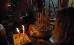 Man Mo Temple Lighting Incense
