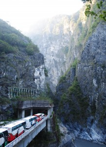 Taroko Gorge View with Tour Bus and Tunnel
