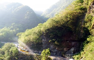 Taroko \National Park Landscape with Bus