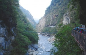 Taroko Marble Gorge Landscape with tourists