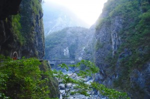 taroko Gorge Landscape View with Bridge