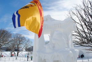 Snow Sculpture with flag at Winterlude 2017