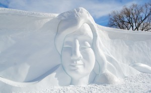 Snow sculpture of woman's head t Winterlude 2017